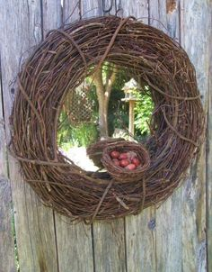 RESERVED FOR JENNIFER  Wall Mirror with Grapevine Frame and Bird Nest. $55.00, via Etsy.