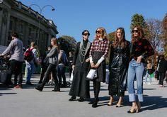 Gilda Ambrosio, Candela Novembre, Giorgia Tordini in an Attico jacket and Chanel shoes, and Ece Sukan in Chanel shoes