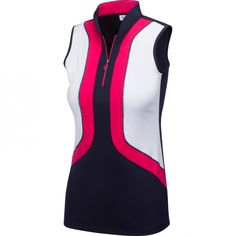 #lorisgolfshoppe Women's Golf Apparel offers a classy collection of golf skorts, shorts, dresses, and golf tops. You gotta see this PALM BEACH (Navy) Greg Norman Ladies ML75 Juniper Sleeveless Golf Shirt with unique , pretty colors!