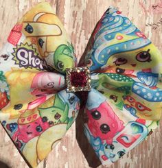 Shopkins inspired hair bow with rhinestone by BeadsAndJewelsGalore