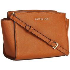 ce81cdc2ae9eb Michael Kors Selma Luggage Brown Medium Crossbody Handbag ($220) ❤ liked on  Polyvore featuring