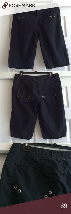 Black Bermuda Shorts Black Bermuda shorts with silver accents on pockets. Slightly worn, but still in great shape. Arizona Jean Company Shorts Bermudas