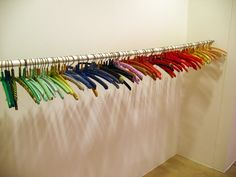 Anu Tuominen is a Finnish contemporary artist that uses everyday objects, often colorful ones, to create new assemblages, memories, and mea. Color Coordinated Closet, Walk In Wardrobe, Room To Grow, Installation Art, Art Installations, Diy Ribbon, Everyday Objects, Fantastic Art, Clothes Hanger