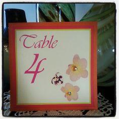 Orange & Pink - Orchid Spring Wedding Table Number - Backed with pink matte and orange metallic cardstock. $3.50 at https://www.etsy.com/listing/123725978/orange-pink-orchid-spring-wedding-table?