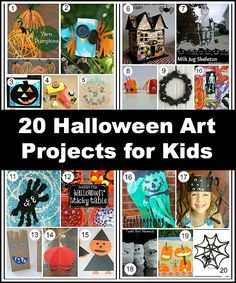 20 Halloween Art Projects for Kids: Pumpkin crafts, spider projects, jack-o-lantern art, and more!