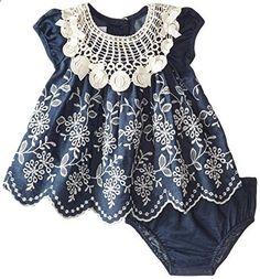 Bonnie Baby Baby Girls Newborn Embroidered Denim Border Dress Blue 3 to 6 Months. Check website for more description.