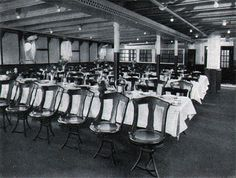 """Right now I'm deciding which ship will carry my main character to Canada in my new novel. """"Unregrettable"""" This isn't bad for class dining, eh? Photo 03 - Corner Of Third Class Dining Room On The S. New York Main Character, Third, Novels, Dining Room, Corner, Author, Canada, New York, Dinner Room"""