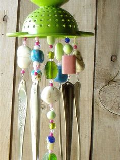 Silverware Wind Chimes | Cute Colander Music to my Ears Repurposed Flatware Wind Chime Recycled ...