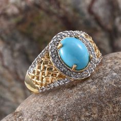 Arizona Sleeping Beauty Turquoise and White Topaz Ring in 14K Yellow Gold Overlay Sterling Silver (Nickel Free)