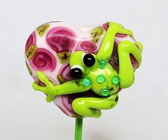 Made to order Margo lampwork beads frog heart by margolampwork