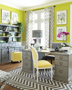 I like the pale yellow with the gray...not too crazy about the chartreuse walls...maybe a pale yellow would be nice.