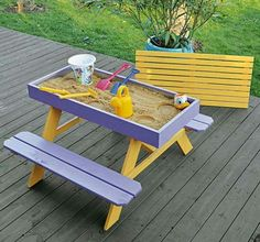 Want to give the kids a sandbox picnic table on the deck? DIY picnic table and sandbox combo! Kids Picnic Table, Play Table, Kids Sand Table, Pinic Table, Sand Pit, Ideias Diy, Diy For Kids, Kids Playing, Wood Crafts