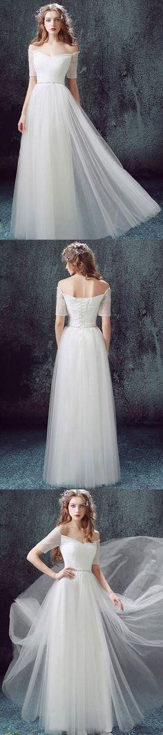 Long Wedding Dress, Tulle Wedding Dress, Vintage Bridal Dress, Short Sleeve Wedding Dress, Off Shoulder Wedding Dress, Beading Wedding Dress, A-Line Wedding Dress, LB0631