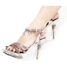 Pink Stiletto High Heel Platform Boho Prom Ball Cocktail Shoes Sandals SKU-1090878