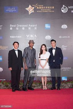 Allen Iverson Jessica Jung and Pakho Chau during the Red Carpet event at the World Celebrity ProAm 2016 Mission Hills China Golf Tournament on 20...