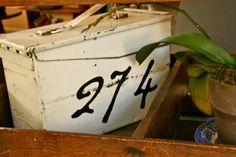 DIY painted number tutorial on vintage ammo box.