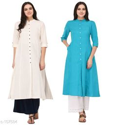Kurtis & Kurtas Multicolored Cotton Kurti (Combo of 2)  *Fabric* Cotton  *Sleeves* Sleeves Are Included  *Size* XS, S, M, L, XL, XXL, 3XL,4XL ( Refer Size Chart For Details )  *Type* Stitched  *Description* It Has Combo of 2 Kurti  *Pattern* Solid  *Sizes Available* XS, S, M, L, XL, XXL, XXXL, 4XL *    Catalog Name: Solid Cotton Kurtis CatalogID_10640 C74-SC1001 Code: 949-107584-