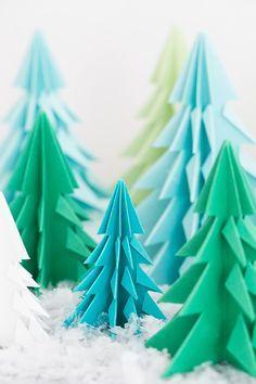 Origami paper pine trees.