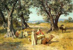Peinture d'Algérie - Peintre Espagnol, José Alsina(1850 - 1925), Huile sur toile, Titre: Repos dans l'ombre.
