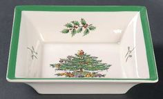 Spode, Christmas Tree (Green Trim) - Page 1 Christmas China, Spode Christmas Tree, Christmas Dishes, Vintage Christmas, Square Tray, Green, Kitchen, Pattern, Christmas Starters