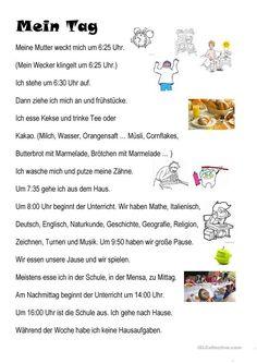 my day – German grammar – Putzen German Grammar, Teaching English Grammar, German Language Learning, German Words, Grammar And Vocabulary, Teaching French, Teaching Spanish, Study German, German English