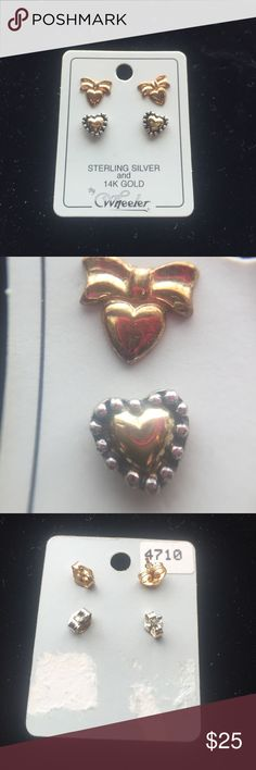Sterling silver and gold earrings A set of two earrings in gold and Sterling silver. Never worn. Both have a heart on them perfect for a gift for a loved one. Beautiful Jewelry Earrings