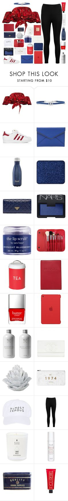 """You Light Me Up Inside Like The Fourth Of July"" by just-a-reject-x ❤ liked on Polyvore featuring Johanna Ortiz, Noir Jewelry, adidas, Rebecca Minkoff, S'well, shu uemura, Prada, NARS Cosmetics, Sara Happ and Morphe"