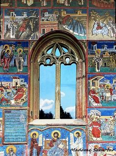 "Romania - This nice window belongs to the ""Voroneţ"" basilica in Romania. The wonderful color of the facade matches with the blue of the sky reflected in the glass. Beautiful Buildings, Beautiful Places, Les Religions, Famous Castles, Through The Window, Windows, Chapelle, Place Of Worship, Kirchen"
