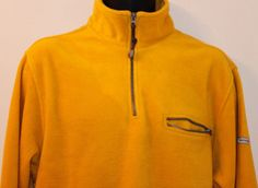 Mens IZOD Fleece 1/2  Zip Sweater Jacket Yellow Size Medium #IZOD #12Zip