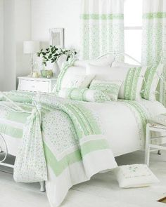 Prospective won shabby chic bedding sets More Bonuses Bedroom Green, Dream Bedroom, Home Bedroom, Bedroom Decor, Green Bedding, White Bedding, Bedroom Ideas, Master Bedroom, Shabby Chic Green