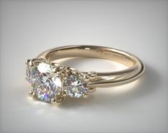 18K Yellow Gold Three Stone Diamond Engagement Ring with Scroll Undergallery