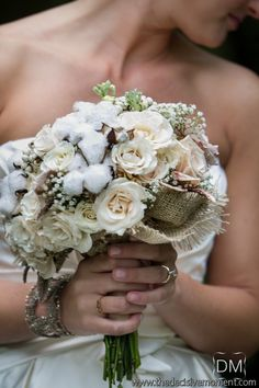 bouquet with cotton and burlap...pretty