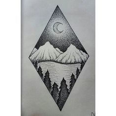 crescent mountains lake and trees dotwork - Google Search