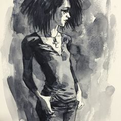 "Death, from Neil Gaiman's ""Sandman"" series. Art by Jill Thompson #jillthompson. Commission at ExpoComic Madrid."