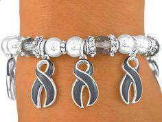 Brain Tumor Bracelets | Gray Ribbon Charm Brain Cancer Awareness Stretch Bracelet