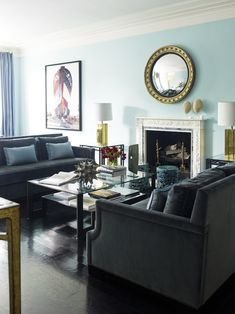 DC Townhouse designed by Hillary Thomas. Love the gray and pale blue combo.