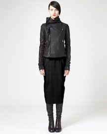 -3TAL Rick Owens Classic Asymmetric Biker Jacket & Back-Seam Pencil Skirt