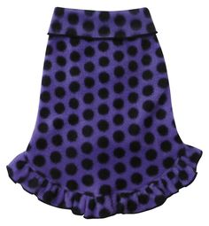 Cozy Fleece Pullover Tank Dress w/Ruffle Skirt in color Purple/Black Polka Dots for dogs