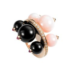 Cartier Évasions Joaillières ring 18K pink gold ring paved with 30 diamonds. 3 onyx beads set with 3 pink sapphires and 3 pink opal beads set with 3 black sapphires.