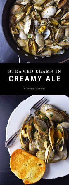 in Creamy Beer Sauce Little neck clams steamed in a creamy, spicy, pale ale based sauce. Served with toasted french bread.Little neck clams steamed in a creamy, spicy, pale ale based sauce. Served with toasted french bread. Clam Recipes, Sauce Recipes, Fish Recipes, Seafood Recipes, Cooking Recipes, Healthy Recipes, Asian Recipes, Fish Dishes, Seafood Dishes