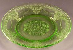 "Georgian Lovebirds Green Depression Glass 6"" Sherbet Plate Federal Glassware VTG"