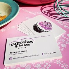 Logo design and business cards for Cupcakes & Bakes. Kitsch cute stationery design for this cupcake business.