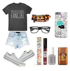 Fangirl by kelsbell06 on Polyvore featuring polyvore, fashion, style, Alexander Wang, Converse, Warner Bros., ZeroUV, TheBalm, Essie and clothing