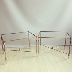 Pair of French brass side tables - Decorative Collective Retro Furniture, Table Furniture, Antique Furniture, Home Furniture, Brass Side Table, Side Tables, Mid Century Furniture, French, Chair