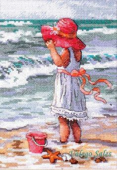 Dimensions Gold Counted #crossstitch GIRL AT THE #BEACH ♥
