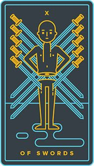 The meaning of Ten of Swords from the Golden Thread Tarot Tarot deck: You are up against the wall, and it is appropriate to admit it. Golden Thread Tarot, Tarot Card Meanings, Book Of Shadows, Tarot Decks, Tarot Cards, Meant To Be, The Neighbourhood, Swords, Templates