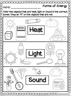 Energy Worksheets for Kids. 20 Energy Worksheets for Kids. forms Of Energy Heat Light sound Primary Science, Kindergarten Science, Elementary Science, Physical Science, Science Classroom, Teaching Science, Teaching Ideas, Science Worksheets, Science Lessons