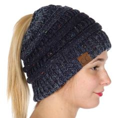 3fa261b5342429 Wholesale W76 C.C Confetti knit beanie tail Navy Made in Korea Messy Bun  Knitted Hat,