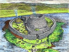 broch of mousa - Yahoo Image Search Results Fantasy Town, Fantasy Art, Medieval Castle, Medieval Town, Castle Illustration, Celtic Culture, Iron Age, Picts, Historical Architecture