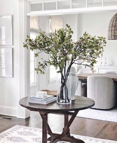 Fresh Farmhouse, Dining Room Design, Glass Vase, Entryway, Stairs, Indoor, Plant Table, People Sitting, Console Tables
